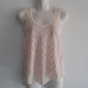 Free People Vanilla Floral Lace Button Tank Top